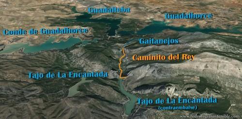 Mapa de situación del Caminito del Rey y embalses alrededor