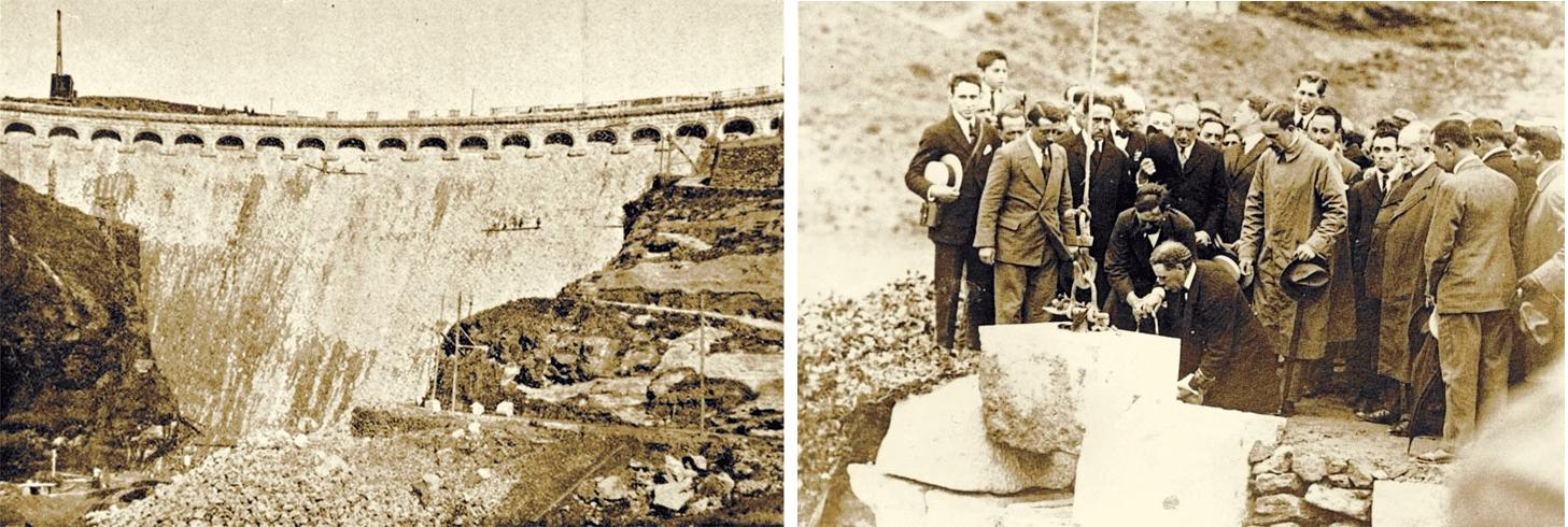 Construcción de la presa del Chorro y el Rey Alfonso XIII colocando la última piedra .